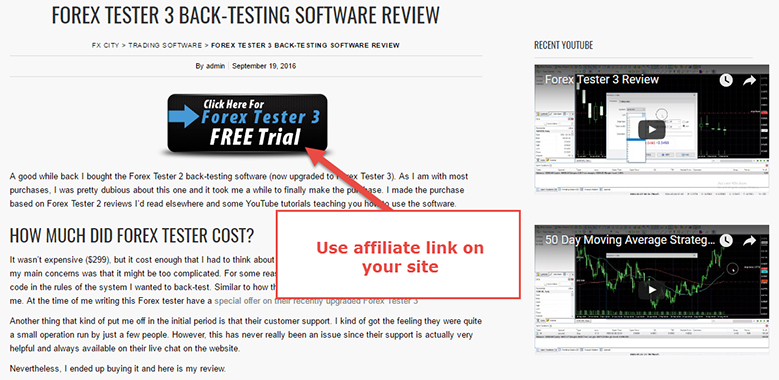 Forex affiliates need to place a link into the banner, article or screenshot